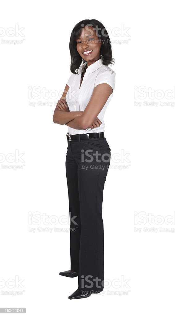 Isolated businesswoman standing arms folded royalty-free stock photo