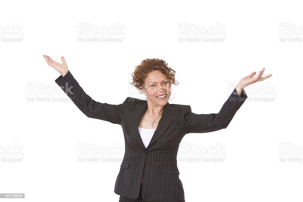 Isolated businesswoman with arms outstreched royalty-free stock photo