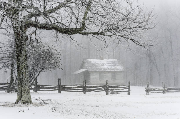 Isolated cabin, winter scenic stock photo