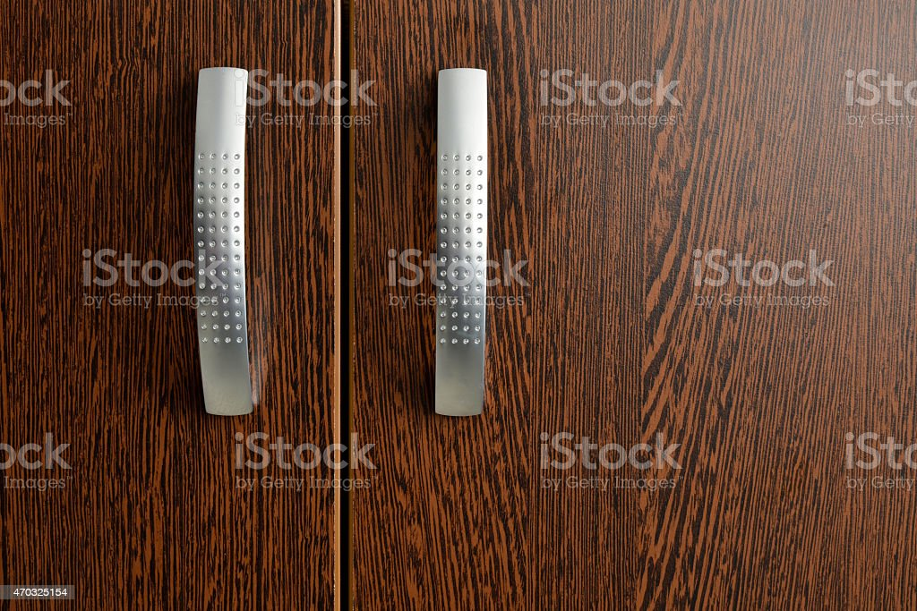 Isolated cabinet handles stock photo