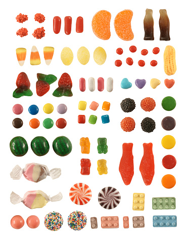 Huge collection of individual, colorful, classic candy pieces, precision isolated and set on a pure white background. Built from multiple high-resolution exposures, each piece is large and highly detailed, with tack-sharp focus with no depth of field.