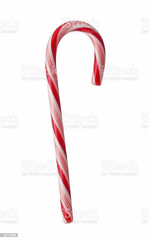 Isolato Candycane (clipping path foto stock royalty-free
