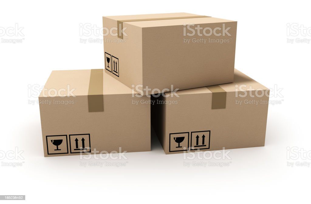 Isolated cardboard boxes. royalty-free stock photo