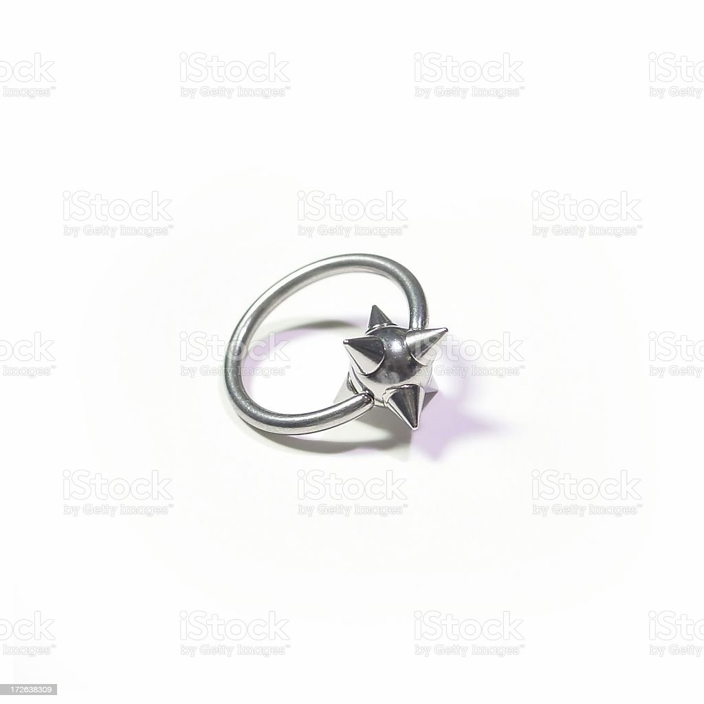 Isolated CBR Captive Bead Ring with Spikes stock photo