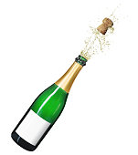 Isolated champagne bottle on a white background