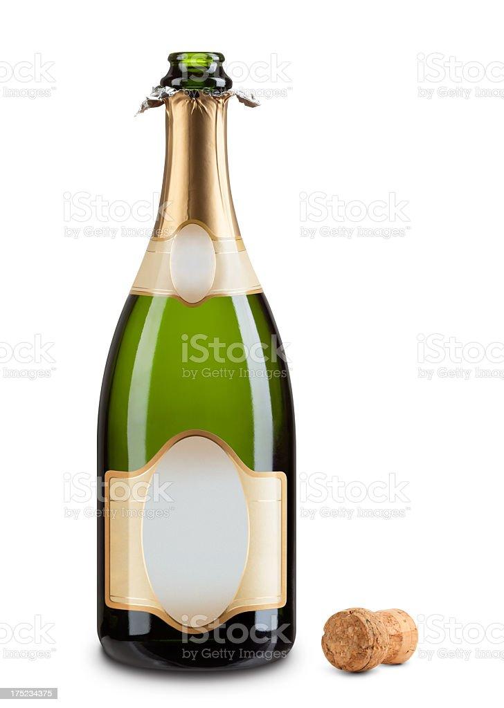 Isolierte Flasche Champagner mit beliebiger Gold label & Cork – Foto