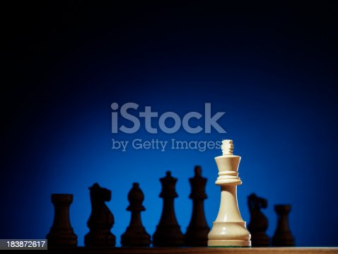 Isolated chess king facing the enemy line.See all my