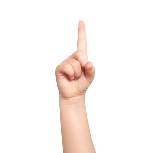 Isolierte Kind hand zeigt die Nummer 1 – Foto