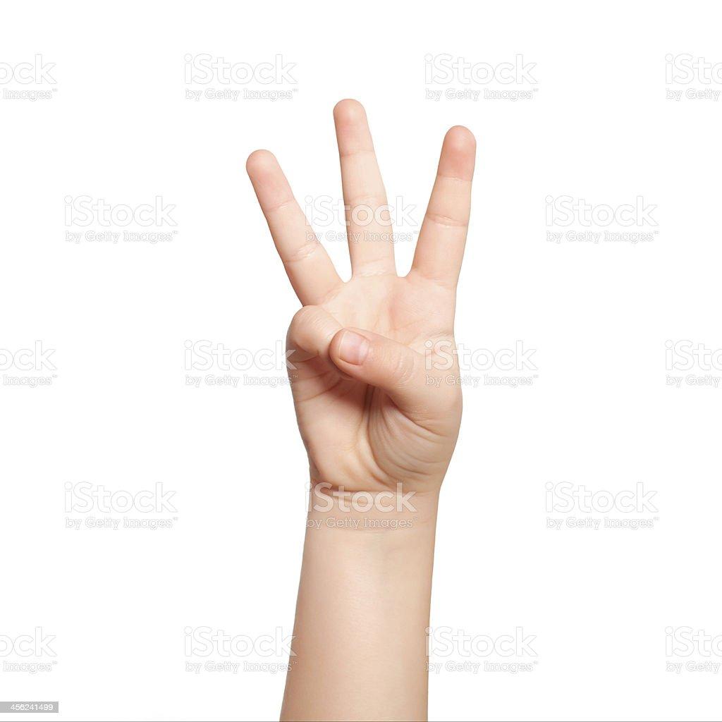 Isolierte Kind hand zeigen die Nummer drei – Foto