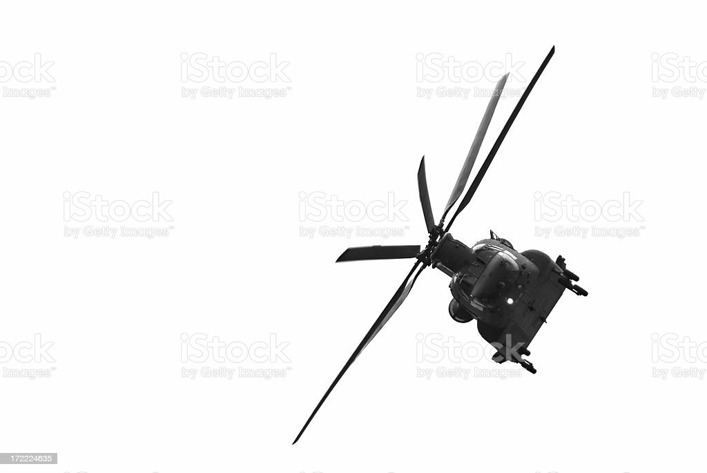 Isolated chinook helicopter stock photo