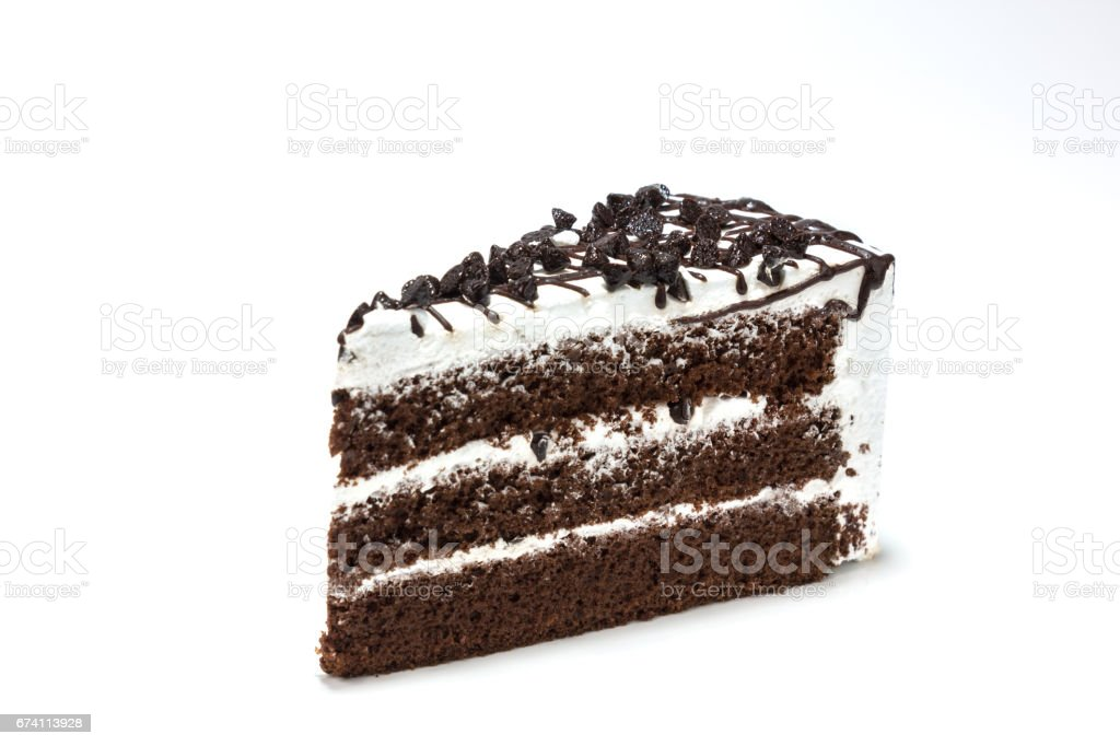 isolated chocolate chip topping on chocolated cake on white background 免版稅 stock photo