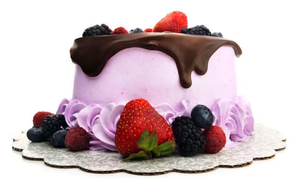 Isolated Chocolate Ganache Berry Cake stock photo