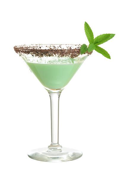 isolated chocolate mint grasshopper cocktail - schokolikör stock-fotos und bilder