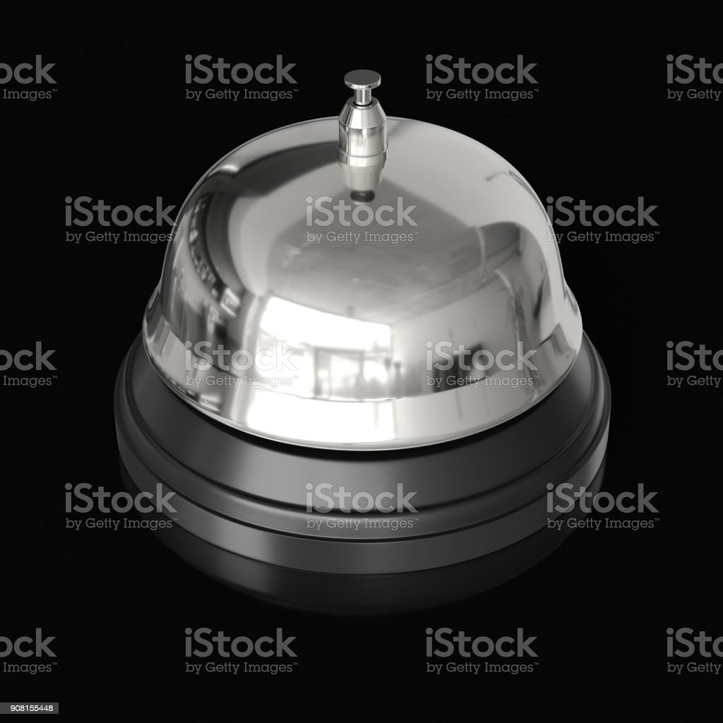 Isolated Chrome Reception Bell on an Unmarked Light Background With Reflection stock photo