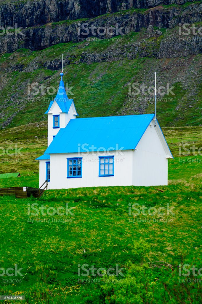 Isolated church in the east fjords region stock photo