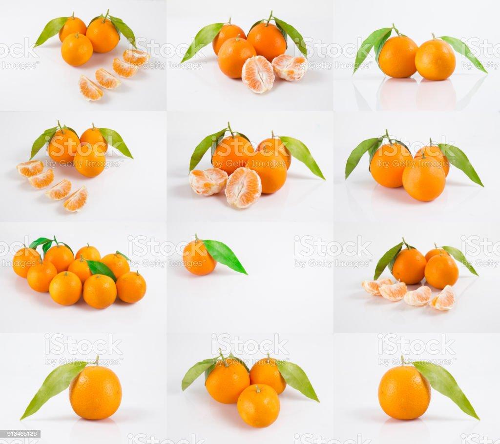 Colección cítricos aislado. Mandarinas enteras o mandarina frutas y  segmentos pelados aislados sobre fondo blanco 6f989c30d7e0