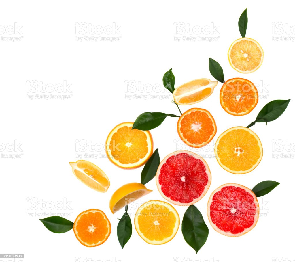 Isolated citrus fruits. Pieces of lemon, lime, pink grapefruit and orange isolated on white background, with clipping path. Top view - foto stock