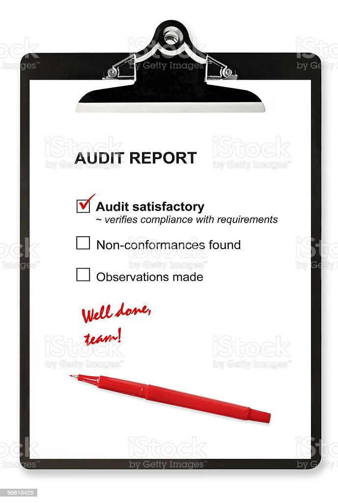Isolated clipboard with a satisfactory audit report royalty-free stock photo