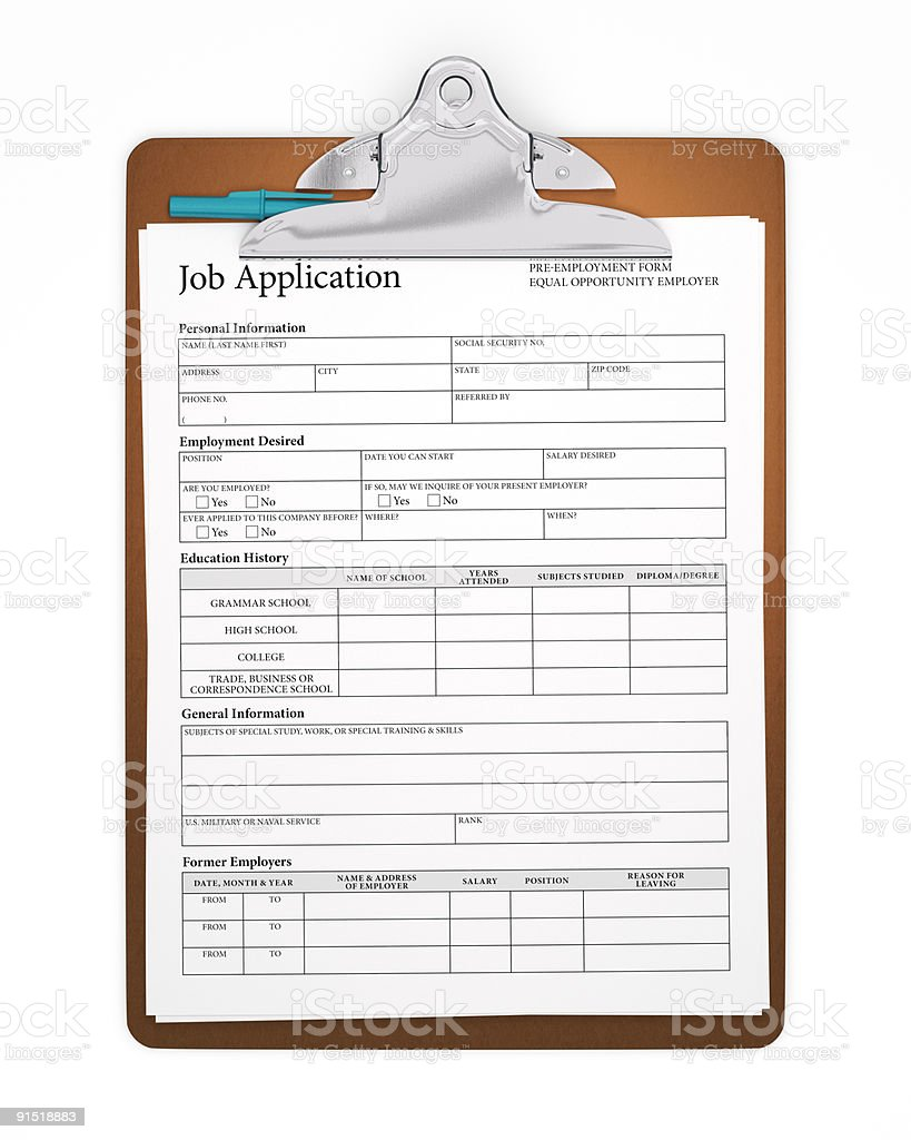 Isolated Clipboard with Job Application Form royalty-free stock photo