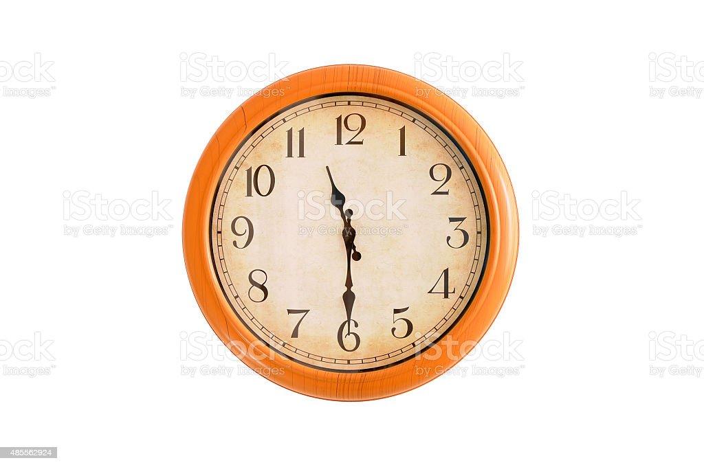 Isolated clock showing 11:30 o'clock stock photo