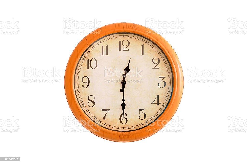 Isolated clock showing 12:30 o'clock stock photo