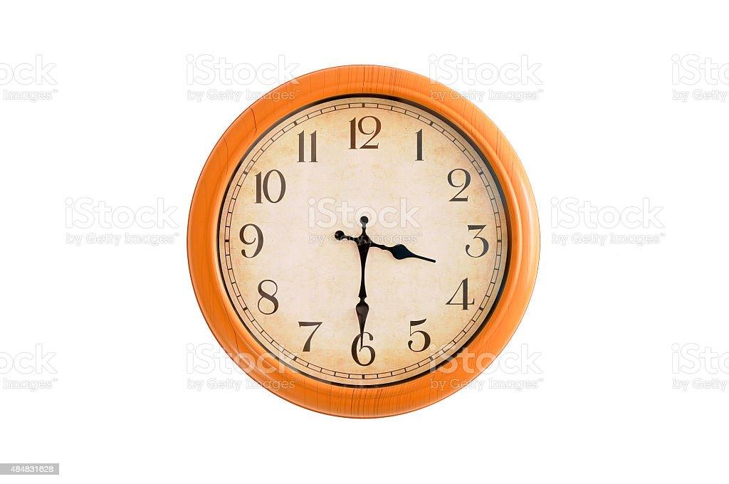 Isolated clock showing 3:30 o'clock stock photo