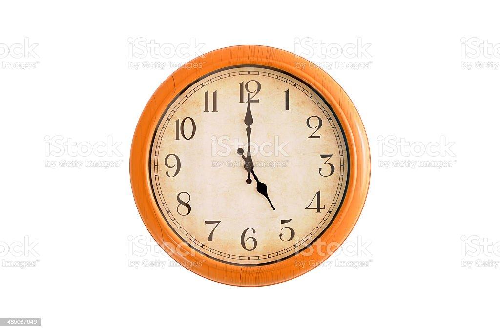 Isolated clock showing 5:00 o'clock stock photo