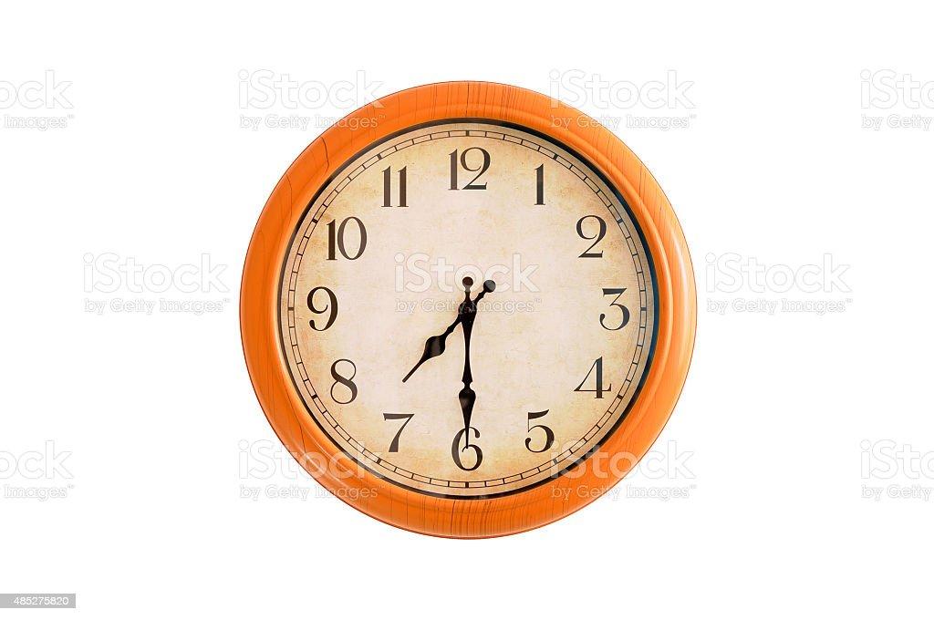 Isolated clock showing 7:30 o'clock stock photo