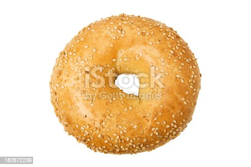 An isolated sesame bagel