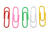 isolated color paper clips