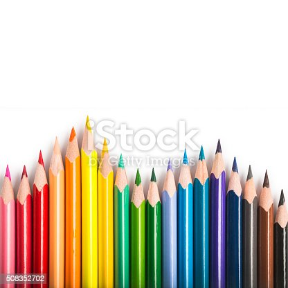 istock Isolated colored pencil forming a rainbow 508352702