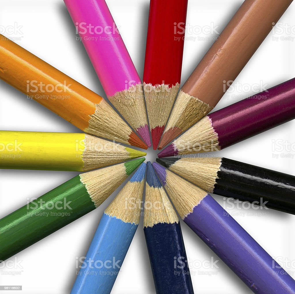 Isolated colored pencils on white background, clipping path royalty-free stock photo