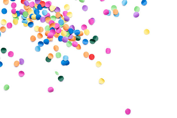 isolated colorful confetti - confetti stock pictures, royalty-free photos & images