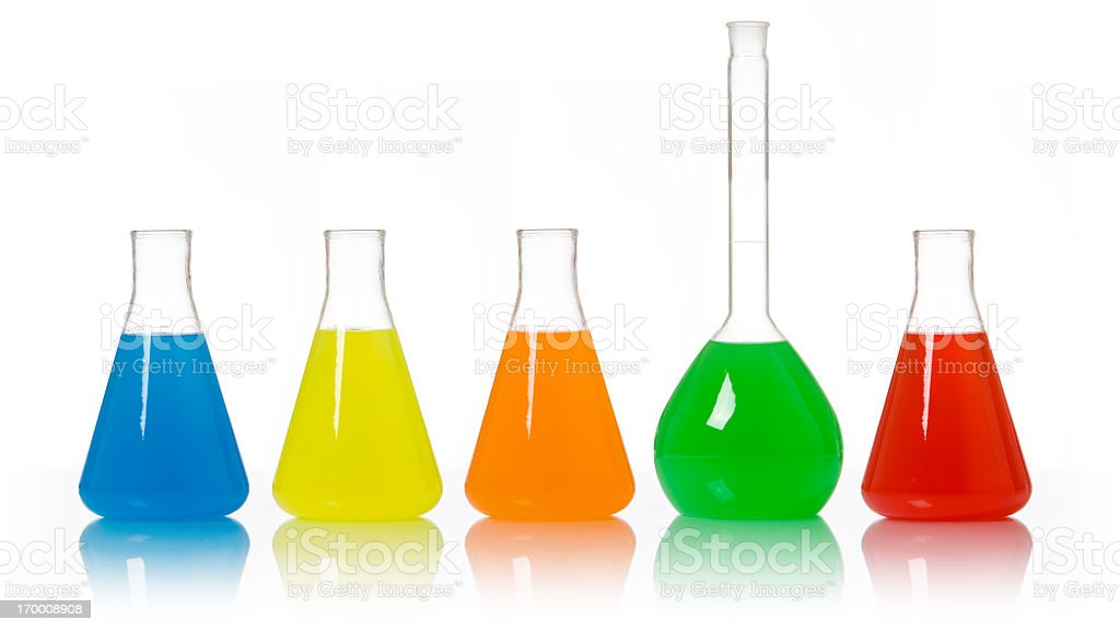 Isolated Colorful Scientific Beakers and Flask royalty-free stock photo
