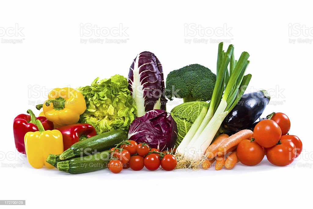 isolated colorful vegetable arrangement stock photo