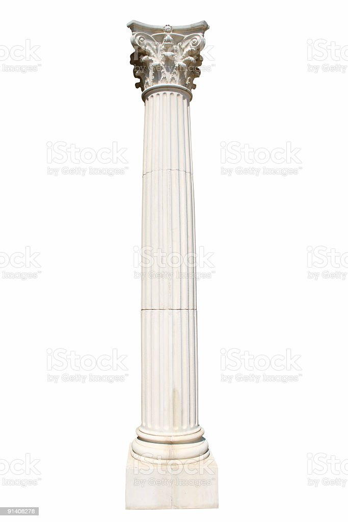 Isolated column on white. stock photo