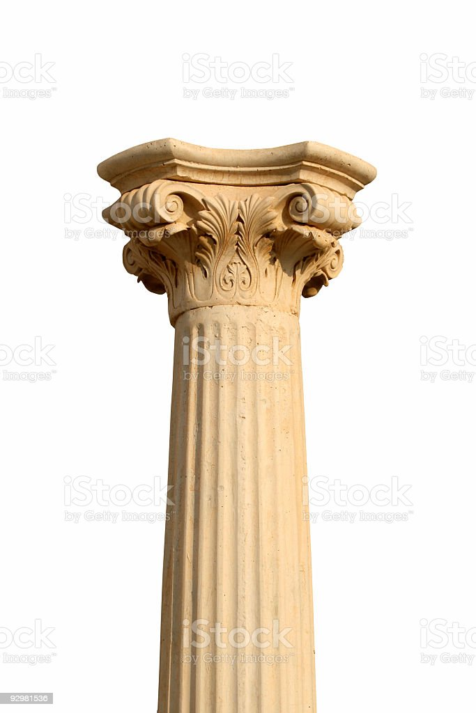 Isolated column on white stock photo