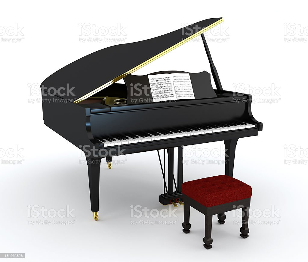 Isolated concert piano stock photo