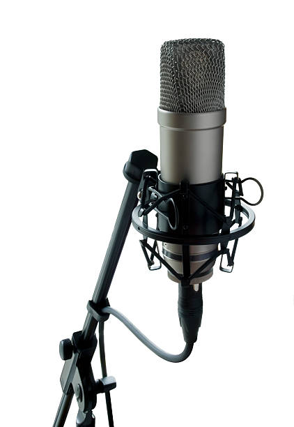 Isolated Condenser Microphone stock photo