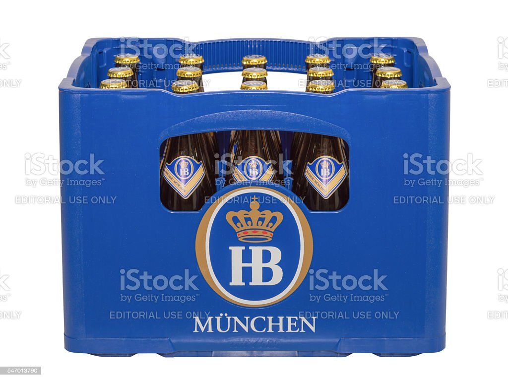 Isolated crate with bottles of classic German traditional Bavarian beer stock photo
