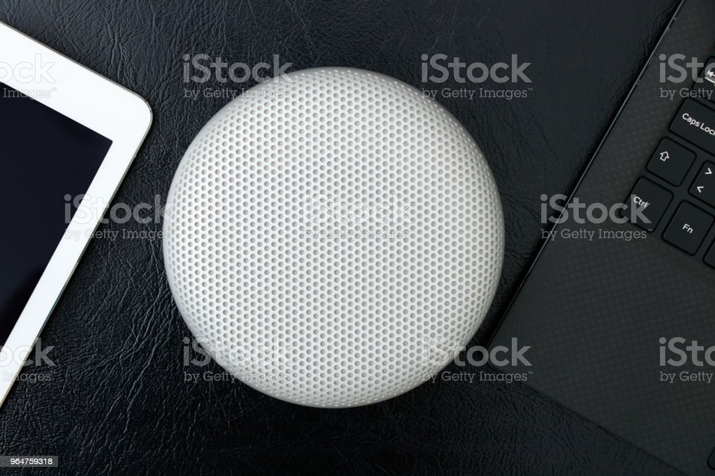 Isolated creative design portable wireless bluetooth speaker for music listening royalty-free stock photo