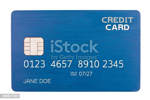 An isolated credit card with a chip.