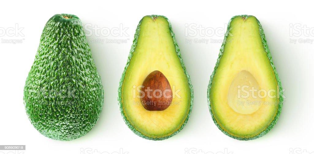Isolated cut avocado stock photo