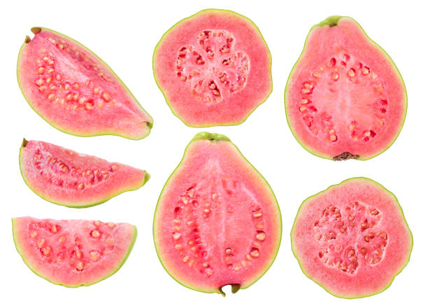 Isolated cut guava fruits stock photo