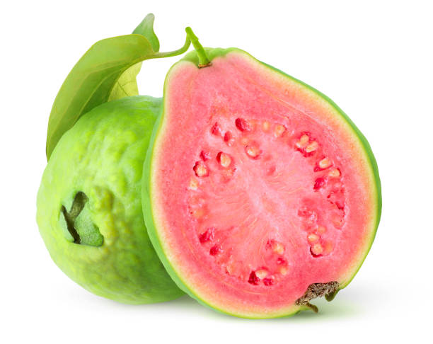 Isolated cut guavas stock photo
