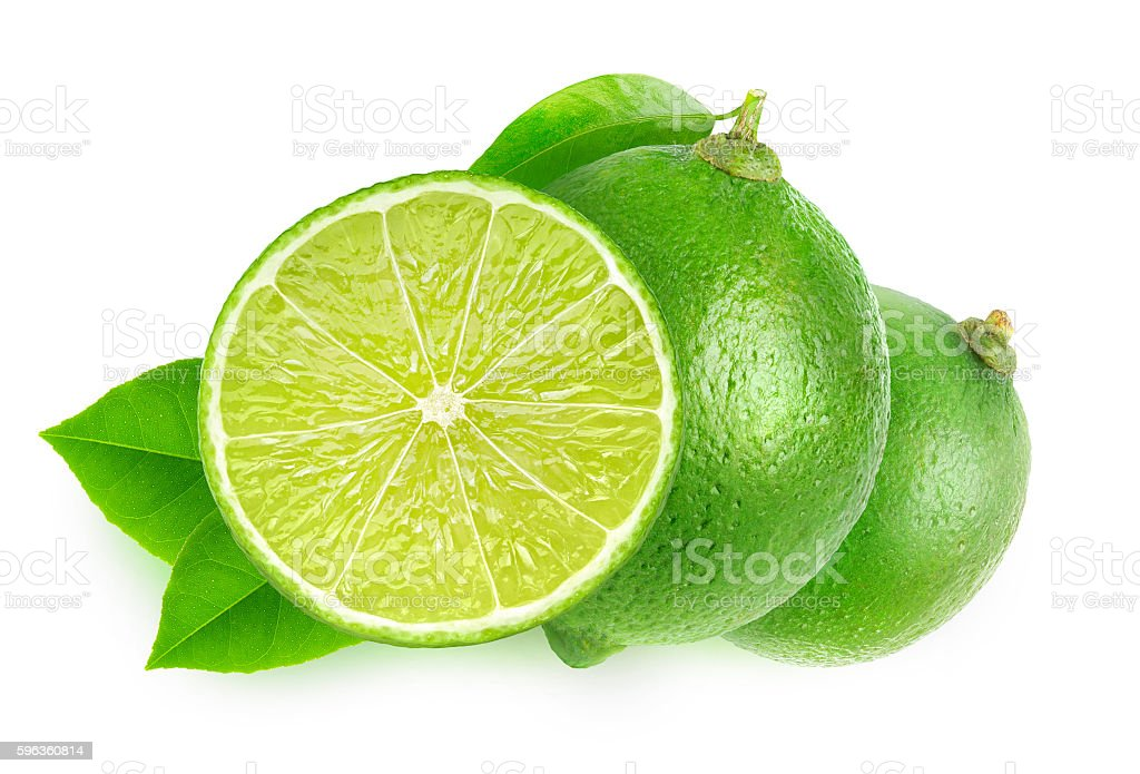Isolated cut limes royalty-free stock photo