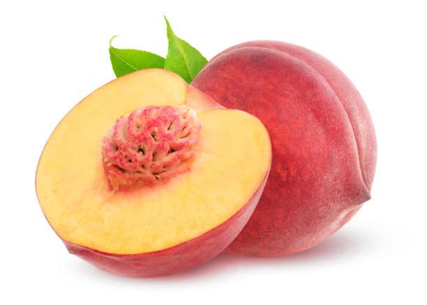 Isolated cut peaches stock photo