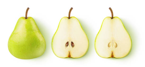 Isolated cut pears Isolated pears. Whole yellow green pear fruit and two halves in a row isolated on white background with clipping path halved stock pictures, royalty-free photos & images