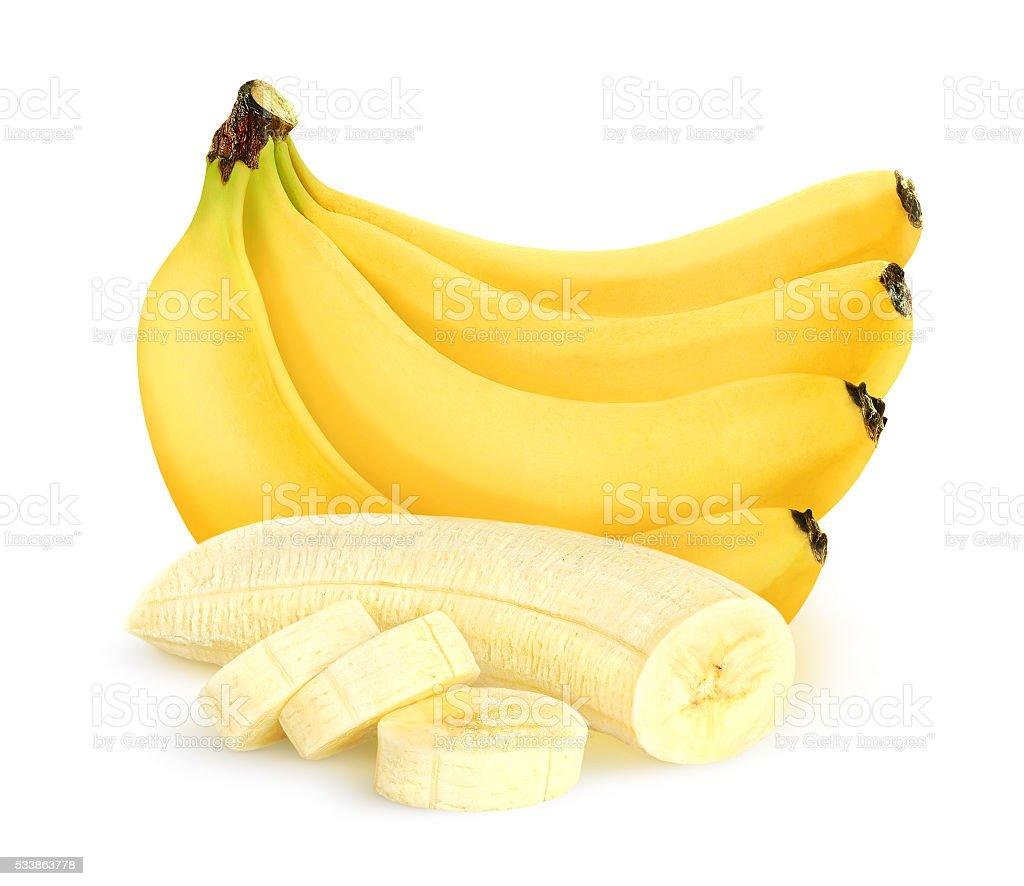 Isolated cut peeled banana bunch - Photo