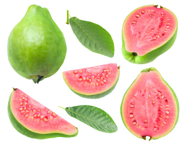Isolated cut pink fleshed guava stock photo